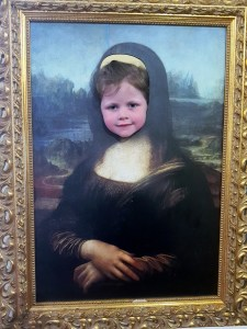 Matilda as the Mona Lisa at the Leonardo da Vinci Museum, Florence