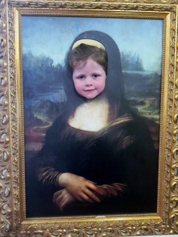 Matilda as the Mona Lisa at the Leonardo da Vinci Museum, Florence