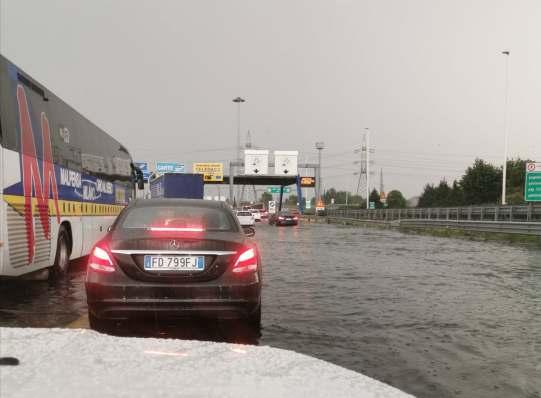 Heavy rain in Milan near Malpensa Airport
