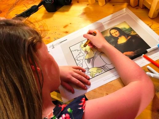 Colouring a Mona Lisa picture at the Leonardo da Vinci Museum, Florence
