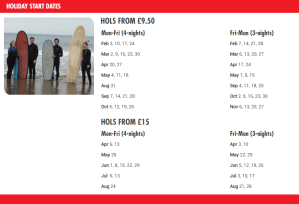 The Sun £9.50 Holidays Dates