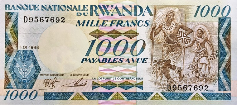 Rwanda 100 Francs Banknote, Year 1988 front, featuring warriors