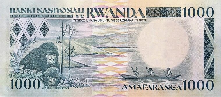 Rwanda 100 Francs Banknote, Year 1989 back, featuring gorillas