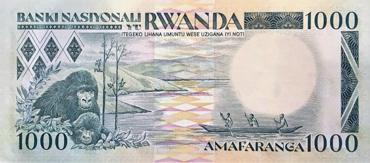 Rwanda 100 Francs Banknote, Year 1989 back, featuring gorillas