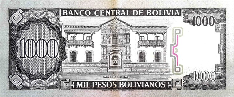 Bolivia 1000 Bolivianos Banknote  back