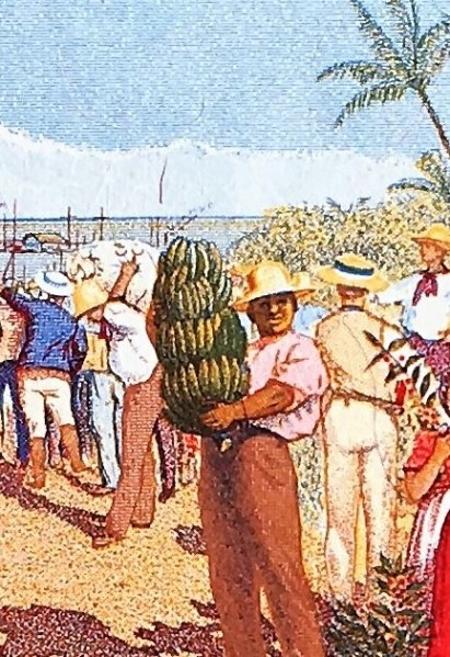 closeup detail of Costa Rica 5 Colones Banknote, Year 1990 back, featuring man carrying bananas