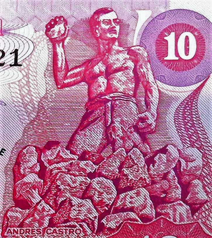 closeup detail of Guatemala 10 cordobes series E front , featuring Adres Castro and his stones