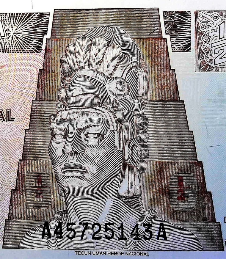 closeup detail of Guatemala 50 Centavos Banknote froint, featuring statue of Tecun Uman