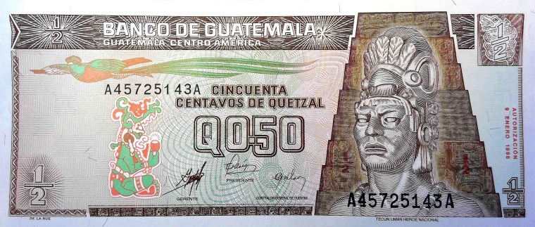 Guatemala 50 Centavos Banknote, front