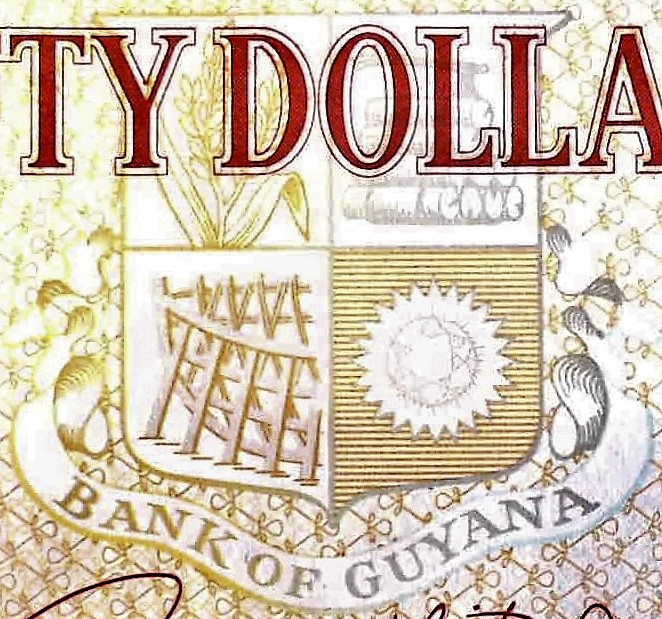 closeup details of Guyana 50 Dollar Banknote, Year 2016 back