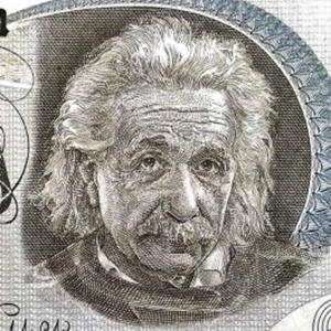 Israel 5 Lirot Banknote, Year 1968 front, featuring portrait of Albert Einstein