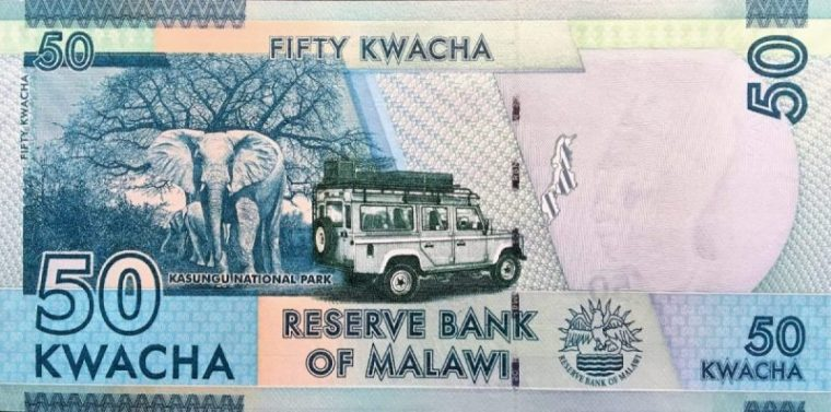 Malawi 50 Kwacha Banknote back, featuring elephant and eco tourists