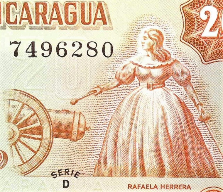 closeup detail from Nicaragua 20 Cordobas Banknote front, featuring Rafaela Herrera firing the cannon