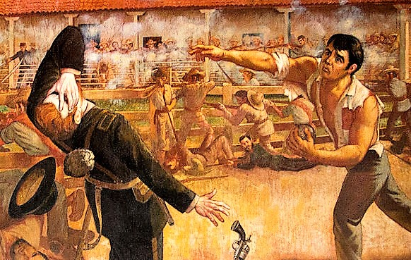 closeup detail of painting showing stone thropw of Andres castro against british soldier who drops his gun
