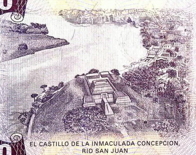 Nicaragua 50 Cordobas Banknote front, featuring El Castillo de la Immaculada Concpcion, Rio San Juan.