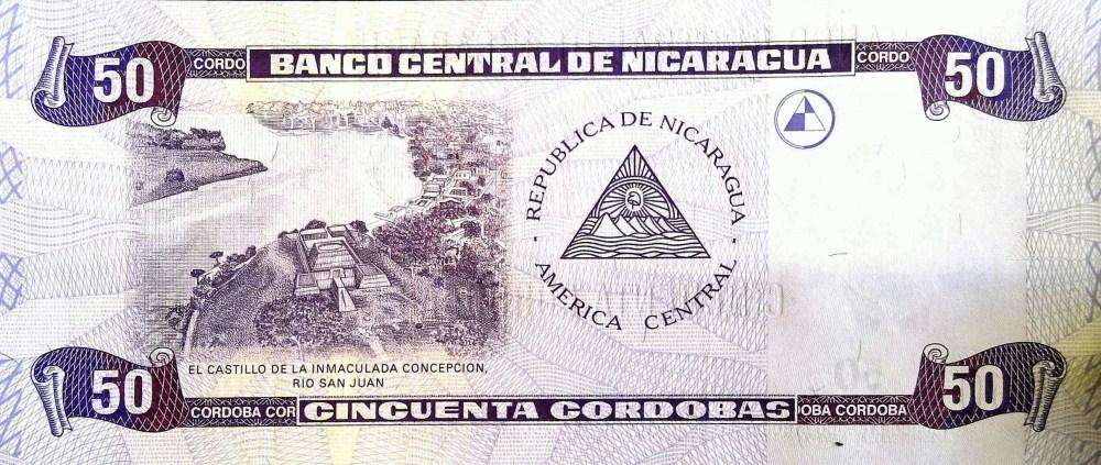 Nicaragua 50 Cordobas Banknote  back
