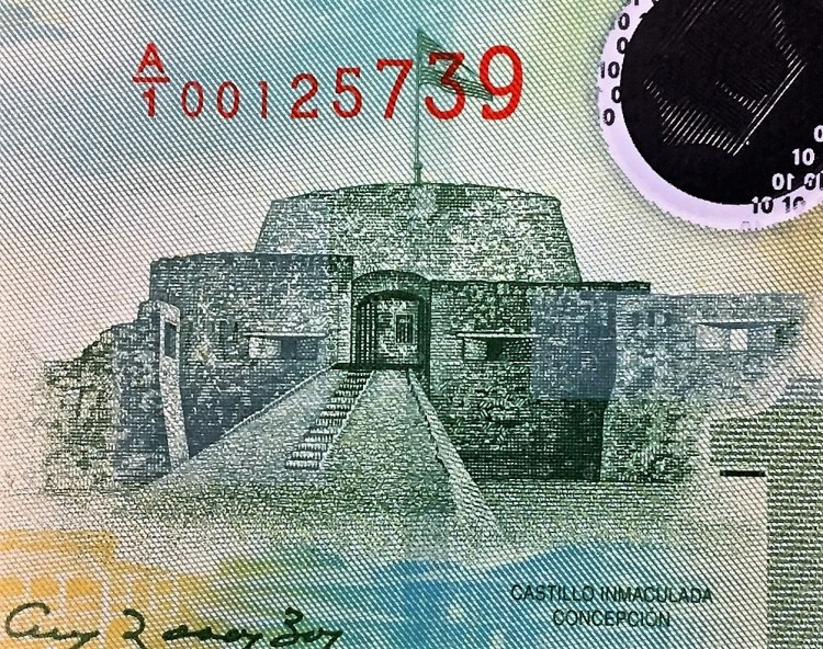 Nicaragua 10 Cordobas Banknote front, featuring  Fortress of the Immaculate Conception on the San Jose River