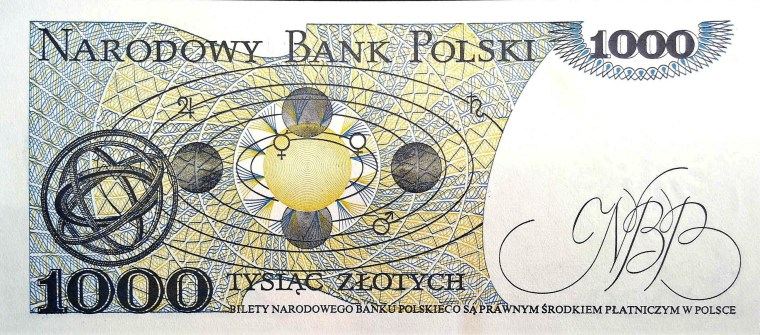 Poland 1000 Zloty Banknote back, featuring revolution of the planets