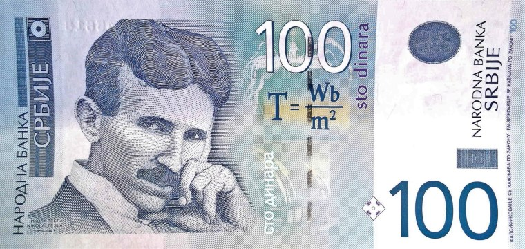 Serbia 100 Dinara Banknote front, featuring Nikola Tesla and his equation