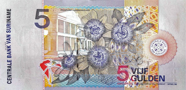 Suriname 5 Guden Banknote, Year 2000 back, featuring passionflowers passiflora blooms