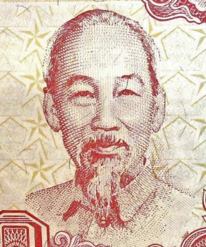 closeup detail of Vietnam 1000 Dong Banknote, 1988 front, featuring portrait of Ho Chi minh