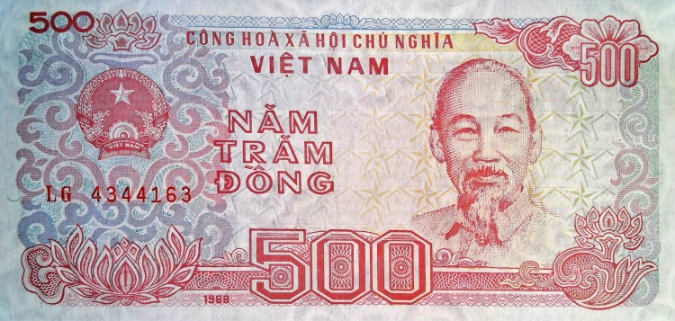 Vietnam 500 Dong Banknote, Year 1988 front, featuring portrait of Ho Chi minh