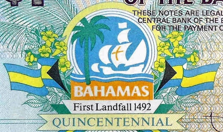 closeup detail of The Bahamas 1 Dollar Quincentennial Banknote, Year 1992 front