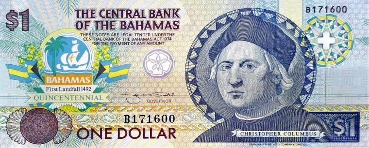 The Bahamas 1 Dollar Quincentennial Banknote, Year 1992 front