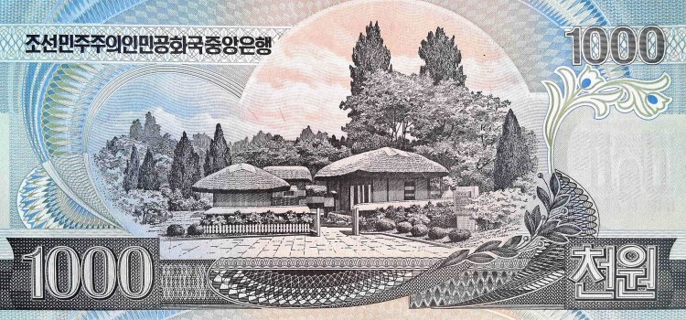North Korea 1000 Won Banknote, year 2002