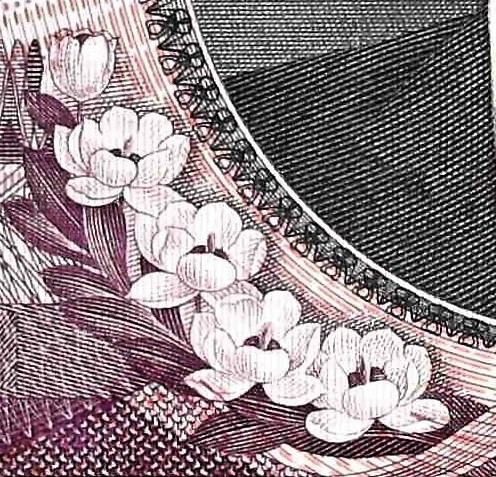 closeup of flowers detail from North Korea 5000 won banknote, year 2002 front