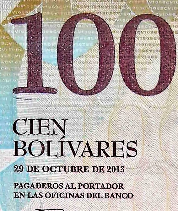 closeup detail of Venezuela 100 Bolivares Banknote, Year 2013 , back