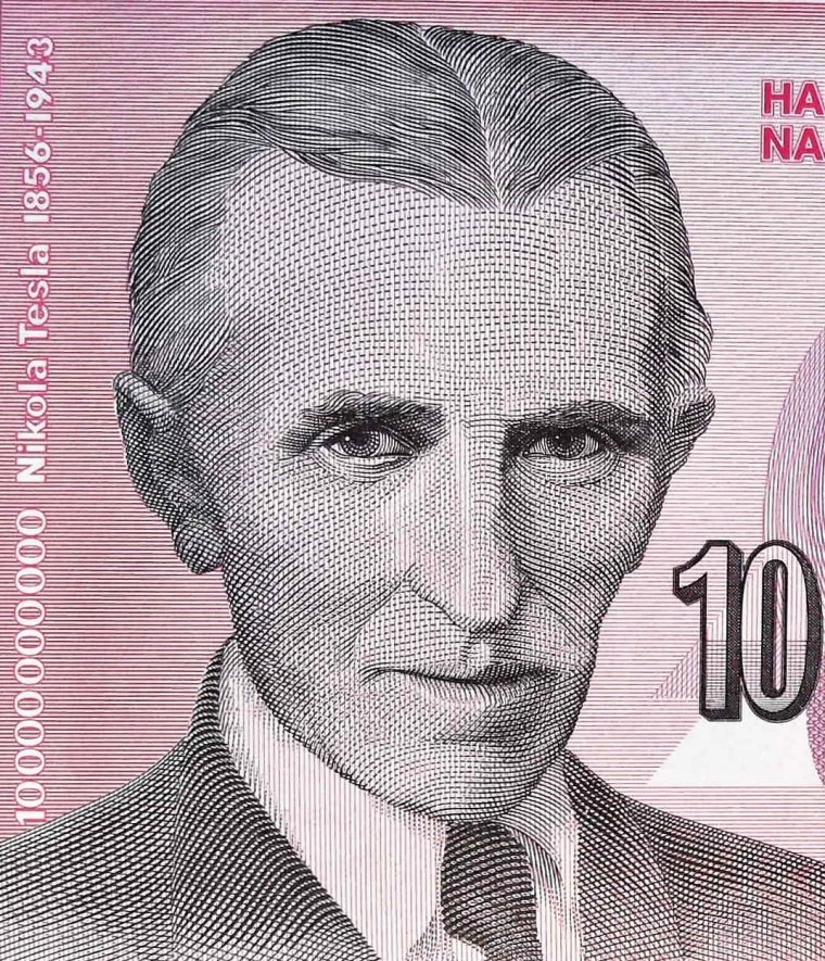 closeup detail from Yugoslavia 1993 10,000,000 banknote front , portrait of  Nikola Tesla