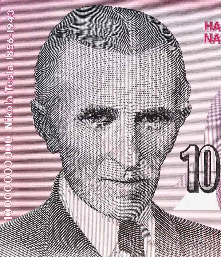 closeup detail from Yugoslavia 1993 10,000,000 banknote front , portrait of  Nikola Tesla