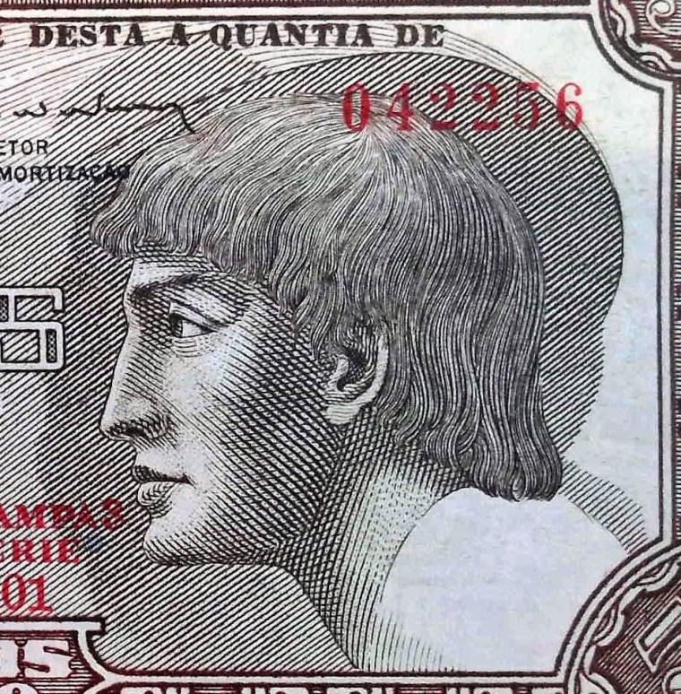 closeup of portrait on Brazil 5 Cruzeiros Banknote
