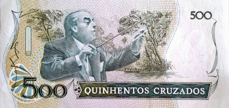 Brazil 500 Cruzados Banknote back, featuring conductor