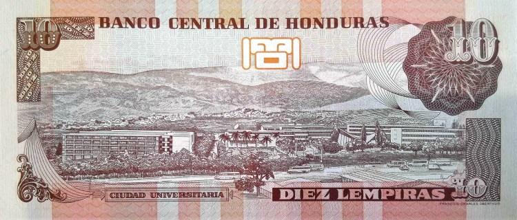 Honduras 10 Lempiras Banknote back