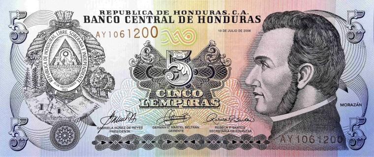 Honduras 5 Lempiras Banknote front, featuring portrait of General José Francisco Morazán Quezada