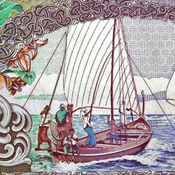 maldives-5-front of banknote, featuring sail boat with people fishing