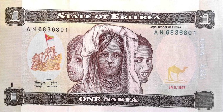 Eritrea 1 Nafka Banknote front, featuring 3 women and scene of lifting the Eritrean flag