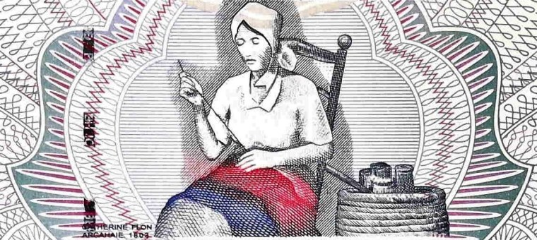 closeup detail from Haiti 10 Gourdes Banknote front, featuring  Catherine Flon sewing first flag of Haiti