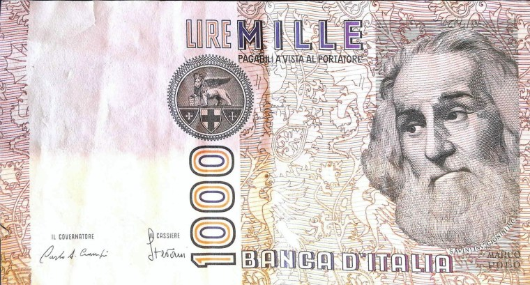Italy 1000 Lira 1982 banknote back, featuring portrait of Marco Polo