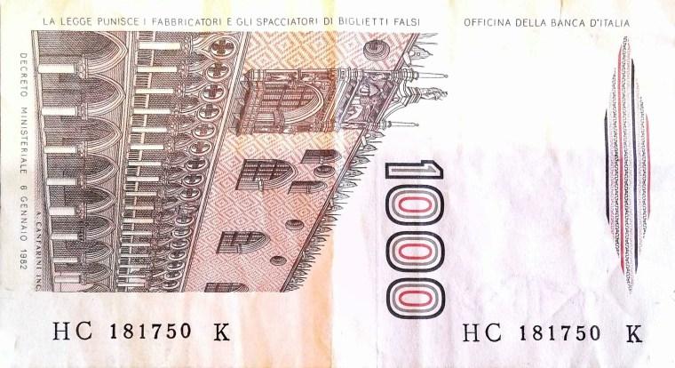 Italy 1000 Lira 1982 banknote