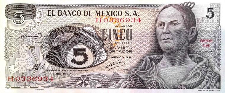 Mexico 5 Pesos Banknote front, featuring portrait of La Corregidora, Doña Josefa Ortiz de Domínguez