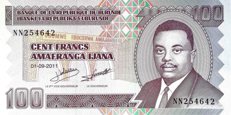 Burundi 100 Francs Banknote front, featuring tomb of Louis Rwagasore
