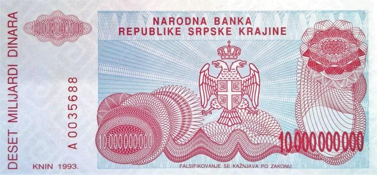 Republic Of Serbia Krajina 10,000,000 Dinaris Banknote, Year 1993, front