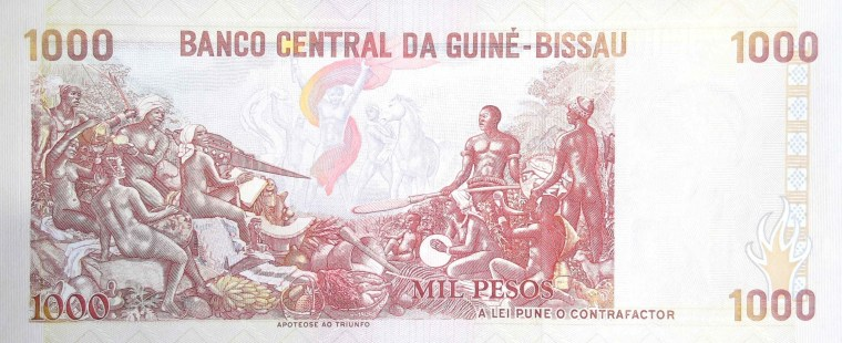 "Guinea-Bissau 1000 Peso Banknote back, featuring the allegory named ""Apoteose ao Triunfo"""