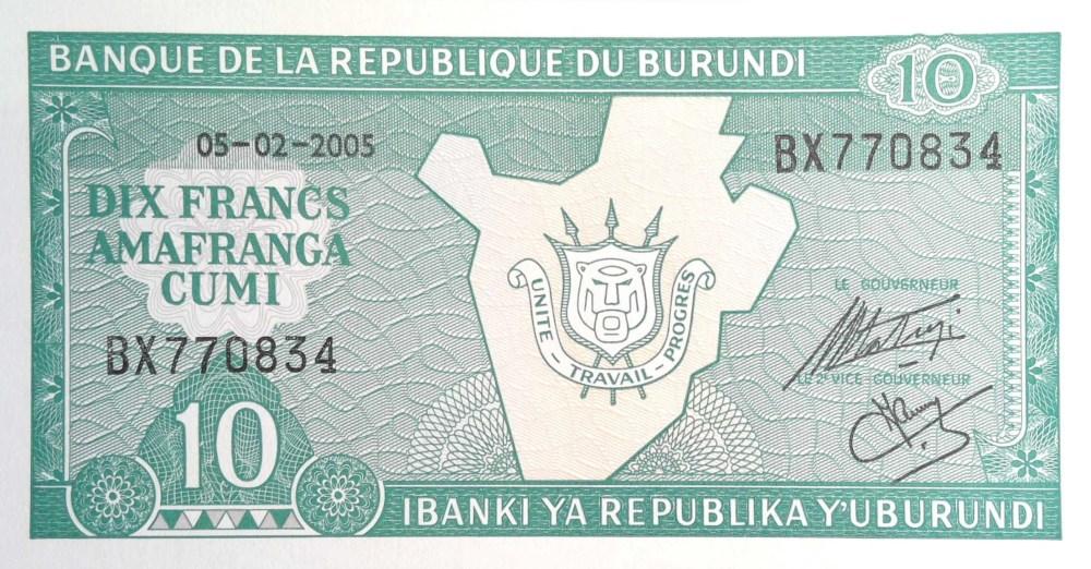Burundi 10 Francs Banknote  front, featuring Burundi coat of arms