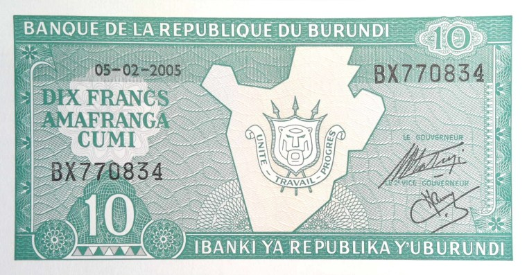 Burundi 10 Francs Banknote  front, featuring Burundi coat of arms