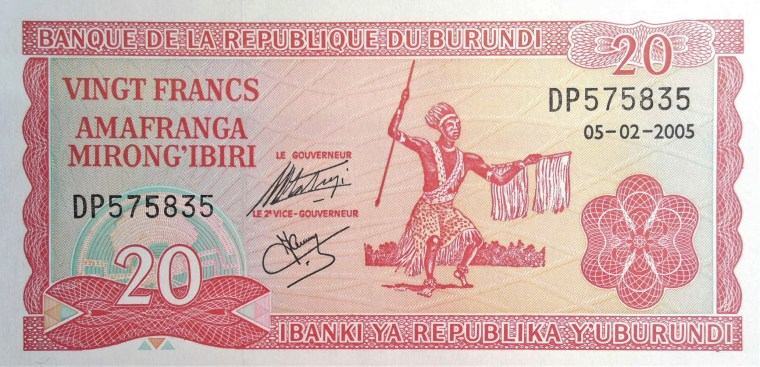 Burundi 20 Francs Banknote front, featuring Intore warrior dance