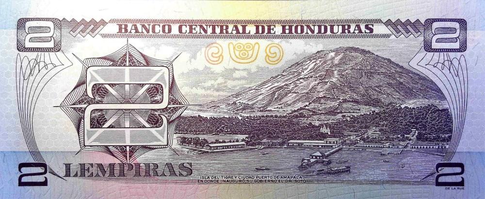 Honduras 2 Lempiras Banknote back, featuring mountain